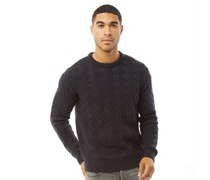 Wool Cable 2 Pullover Navy