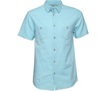 Herren Linen Mix Hemd mit kurzem Arm Himmelblau