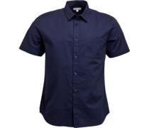 Baumwolle/Leinen Hemd mit kurzem Arm Navy