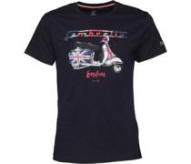 Herren Retro Text Scooter T-Shirt Navy