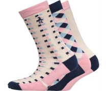 Original Penguin Womens 3 Pack Socks Check/Cream/Navy