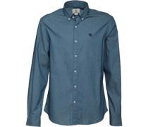 Herren Herring Cove Poplin Printed Hemd mit langem Arm Blau