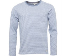 Mens Long Sleeved Yarn Dyed Striped Crew Neck Top Blue/White