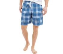 Herren Pyjama Shorts Blaukariert