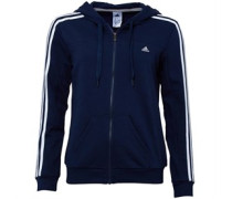 adidas Womens Essentials 3 Stripe Climalite Hooded Tack Top