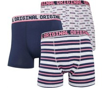 Solid And Strip Boxershorts Navy