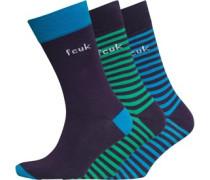 Herren Socken Dunkellilameliert/Blau/Grün