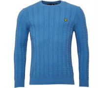 Lyle And Scott Vintage Mens Crew Neck Cable 7GG Jumper Dust Blue