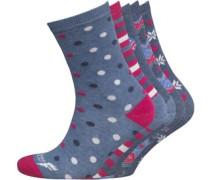 Damen 5 Pack Socken Blautöne