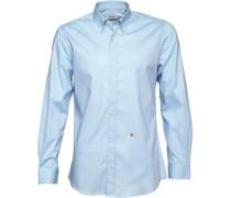 Moschino Herren Button Down Collar Solid Hemd mit langem Arm Blau