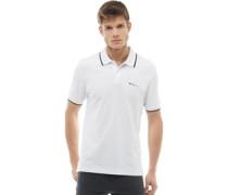 Tipped Pique Polohemd Weiß