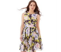 French Connection Damen Botanical Trip Blonde Kleid Mehrfarbig