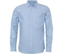 Herren Plain Oxford Hemd mit langem Arm Hellblau