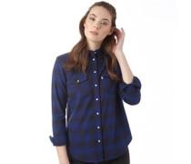 Damen Modern Wester Plaid Bluse mit langem Arm Blau