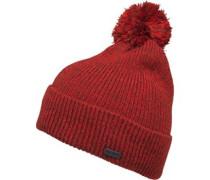 Herren Twist Yam Bobble Beanie Mütze Rot