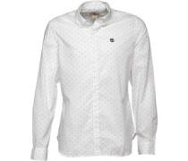 Herren Herring Cove Printed Polka Dot Hemd mit langem Arm Weiß