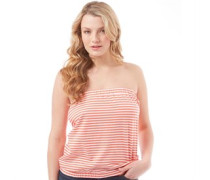 Damen Top Coral/White