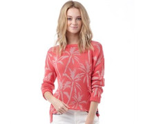 Superdry Womens Palm Print Slouch Knit Top Pink Pop