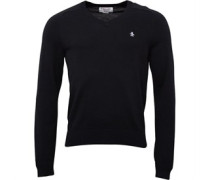 Original Penguin Mens Chester V Neck Cotton Sweater True Black