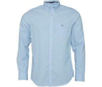 Herren Broadcloth Pinstripe Reg Fit Hemd mit langem Arm Blau