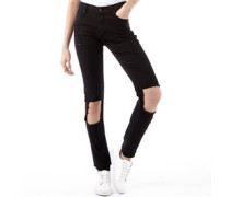 Damen Destroy Ripped Jeans in Slim Passform Schwarz