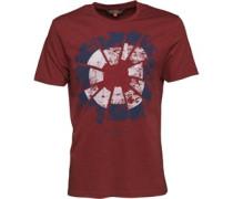 Herren Broken Target T-Shirt Burgunderrotmeliert