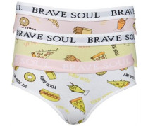 Damen Fast Food Drei Pack Bikini Unterhosen Weiß