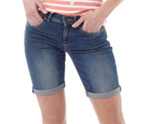 Damen Bermuda Denim Shorts Verblasstes Dunkelblau