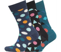 Drei Pack Shapes Gemustert Socken