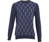 Lyle And Scott Vintage Herren Space Dye Transfer Stitch Pullover mit Rundhalsausschnitt Blau