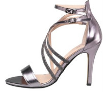 AX Paris Womens Michelle Strappy Heeled Sandal Pewter