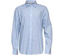 Crew Clothing Herren Fine Hemd mit langem Arm Blau