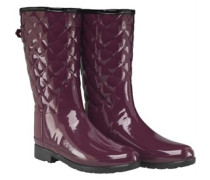 Refined Gloss Quilted Short Gummistiefel Lila