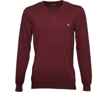 Lyle And Scott Vintage Mens V Neck Cotton Jumper Claret Jug