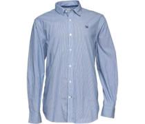 Crew Clothing Herren Hemd mit langem Arm Blau