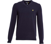 Herren Lambswool Pullover mit V-Ausschnitt Blau