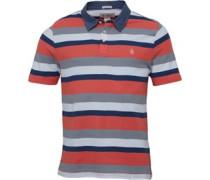 Herren Chamy Collar Striped Polohemd Weiß