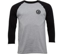 Herren 3/4 Raglan Top mit langem Arm Grey Marl/Black