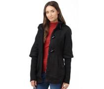 Brave Soul Womens Hooded Duffle Coat Black