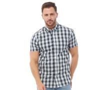 Garn Gefärbt Karo Hemd mit kurzem Arm Navy