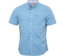 Herren Gingham Hemd mit langem Arm Blau