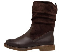 Ruched Mid Stiefel Dunkel