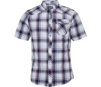Mens Melker Shortsleeve Check Shirt White/Navy Check