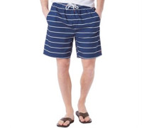 Herren Yarn Dyed Striped Badeshorts Dunkelblau