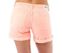 Damen Boyfriend Denim Shorts Korallenrot