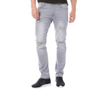 Herren Torn Ripped Jeans in Slim Passform Hellgrau