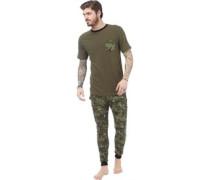 Herren Loungewear-Set Grün Tarnfarbe