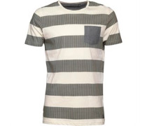 Herren Zinc Striped T-Shirt Ecru/Black