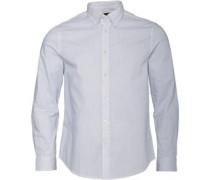 Herren Dash Print Hemd mit langem Arm Weiß