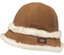 UGG Australia Womens Exposed Shearling City Bucket Hat Chestnut